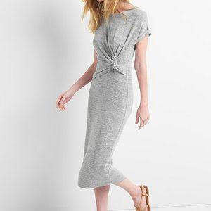 Gap Womens Gray Softspun Twist Knot Midi Dress